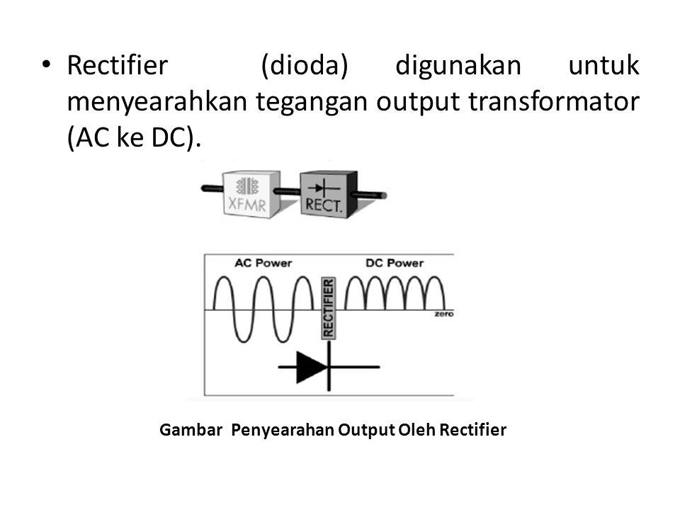 Rectifier (dioda) digunakan untuk menyearahkan tegangan output transformator (AC ke DC). Gambar Penyearahan Output Oleh Rectifier