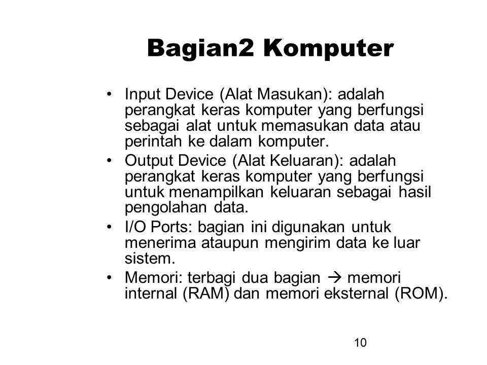10 Bagian2 Komputer Input Device (Alat Masukan): adalah perangkat keras komputer yang berfungsi sebagai alat untuk memasukan data atau perintah ke dal