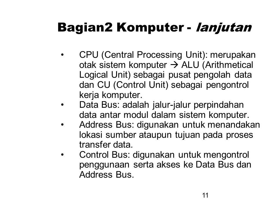 11 Bagian2 Komputer - lanjutan CPU (Central Processing Unit): merupakan otak sistem komputer  ALU (Arithmetical Logical Unit) sebagai pusat pengolah