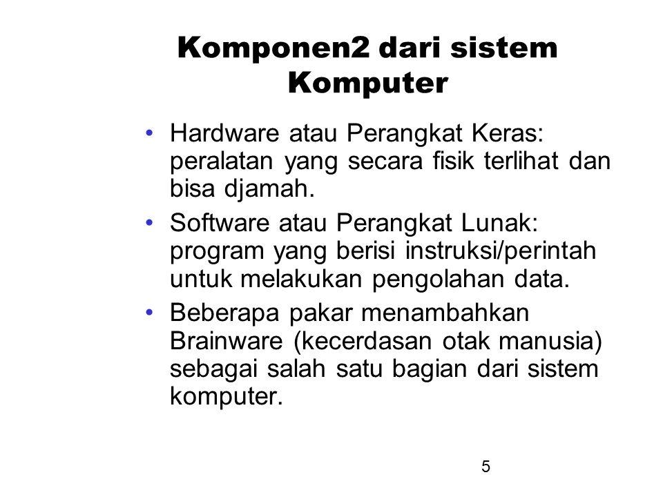 5 Komponen2 dari sistem Komputer Hardware atau Perangkat Keras: peralatan yang secara fisik terlihat dan bisa djamah. Software atau Perangkat Lunak: p