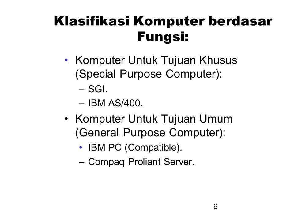 6 Klasifikasi Komputer berdasar Fungsi: Komputer Untuk Tujuan Khusus (Special Purpose Computer): –SGI. –IBM AS/400. Komputer Untuk Tujuan Umum (Genera