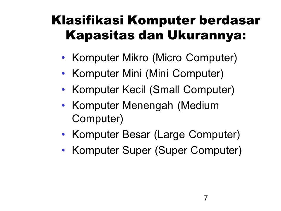 7 Klasifikasi Komputer berdasar Kapasitas dan Ukurannya: Komputer Mikro (Micro Computer) Komputer Mini (Mini Computer) Komputer Kecil (Small Computer)