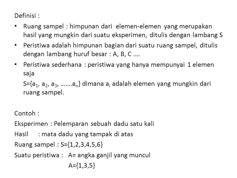 Definisi : Ruang sampel : himpunan dari elemen-elemen yang merupakan hasil yang mungkin dari suatu eksperimen, ditulis dengan lambang S Peristiwa adalah himpunan bagian dari suatu ruang sampel, ditulis dengan lambang huruf besar : A, B, C ….