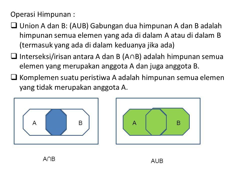 Operasi Himpunan :  Union A dan B: (AUB) Gabungan dua himpunan A dan B adalah himpunan semua elemen yang ada di dalam A atau di dalam B (termasuk yang ada di dalam keduanya jika ada)  Interseksi/irisan antara A dan B (A∩B) adalah himpunan semua elemen yang merupakan anggota A dan juga anggota B.