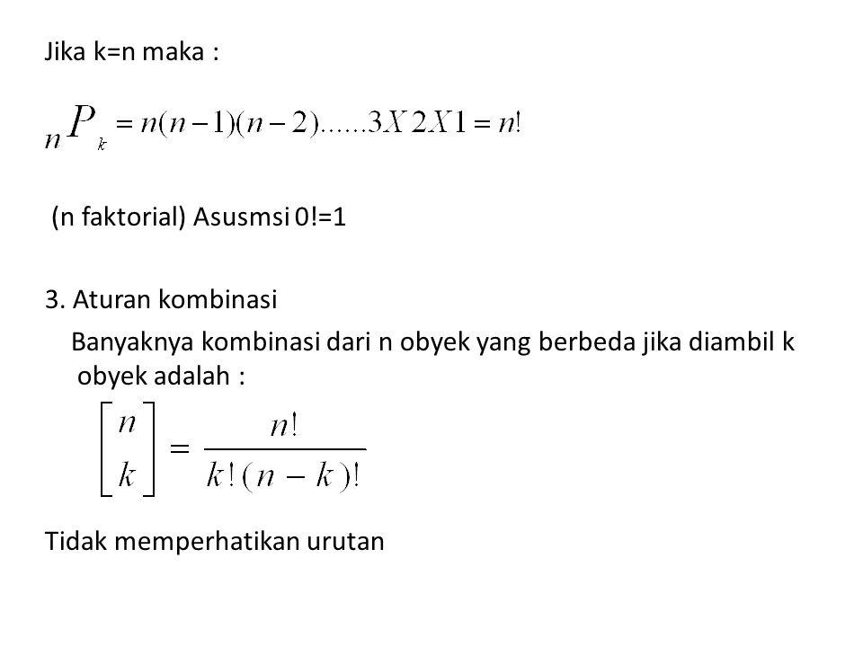 Jika k=n maka : (n faktorial) Asusmsi 0!=1 3. Aturan kombinasi Banyaknya kombinasi dari n obyek yang berbeda jika diambil k obyek adalah : Tidak mempe