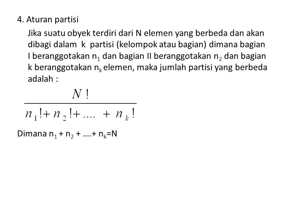 4. Aturan partisi Jika suatu obyek terdiri dari N elemen yang berbeda dan akan dibagi dalam k partisi (kelompok atau bagian) dimana bagian I beranggot