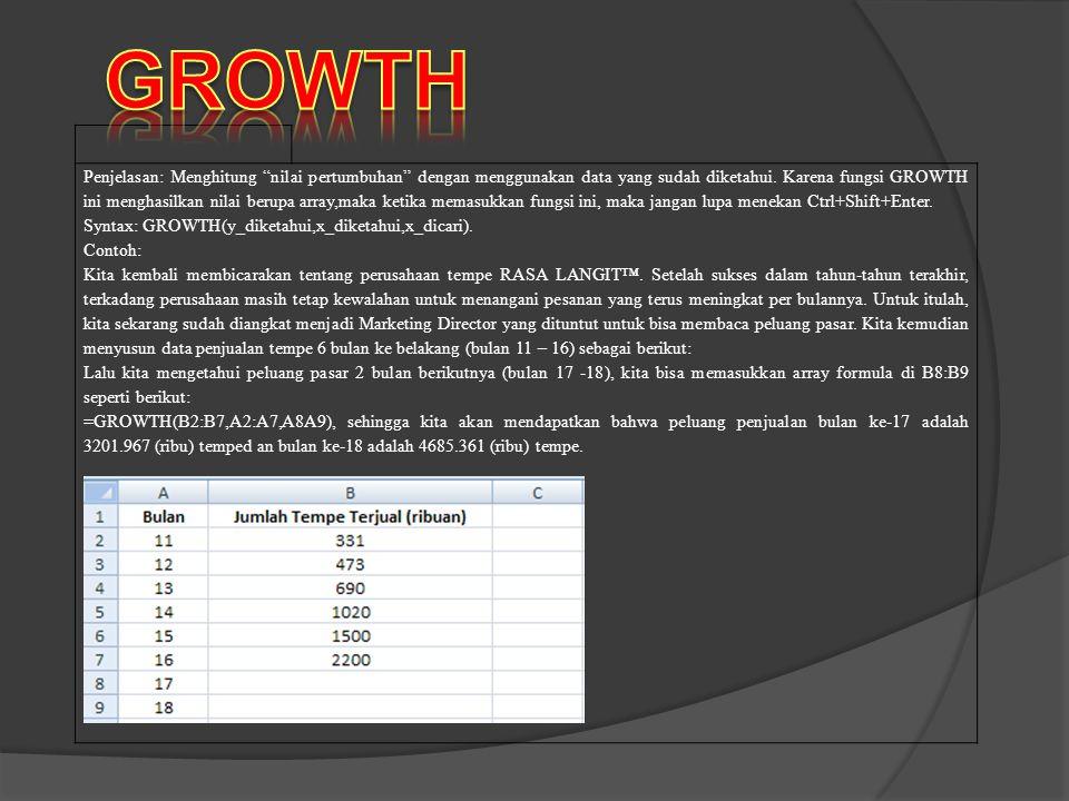 """Penjelasan: Menghitung """"nilai pertumbuhan"""" dengan menggunakan data yang sudah diketahui. Karena fungsi GROWTH ini menghasilkan nilai berupa array,maka"""
