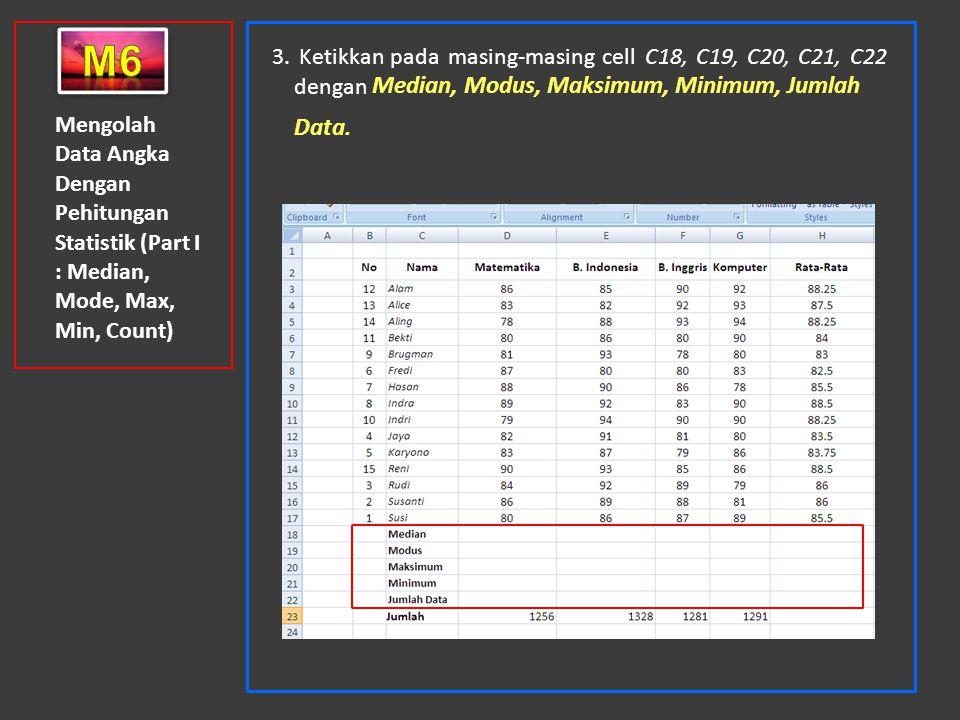 Mengolah Data Angka Dengan Pehitungan Statistik (Part I : Median, Mode, Max, Min, Count) 3. Ketikkan pada masing-masing cell C18, C19, C20, C21, C22 d