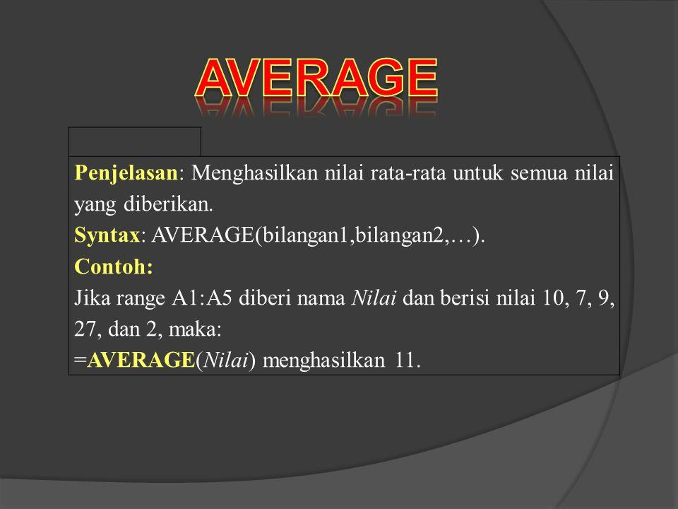 Penjelasan: Menghasilkan nilai rata-rata untuk semua nilai yang diberikan. Syntax: AVERAGE(bilangan1,bilangan2,…). Contoh: Jika range A1:A5 diberi nam