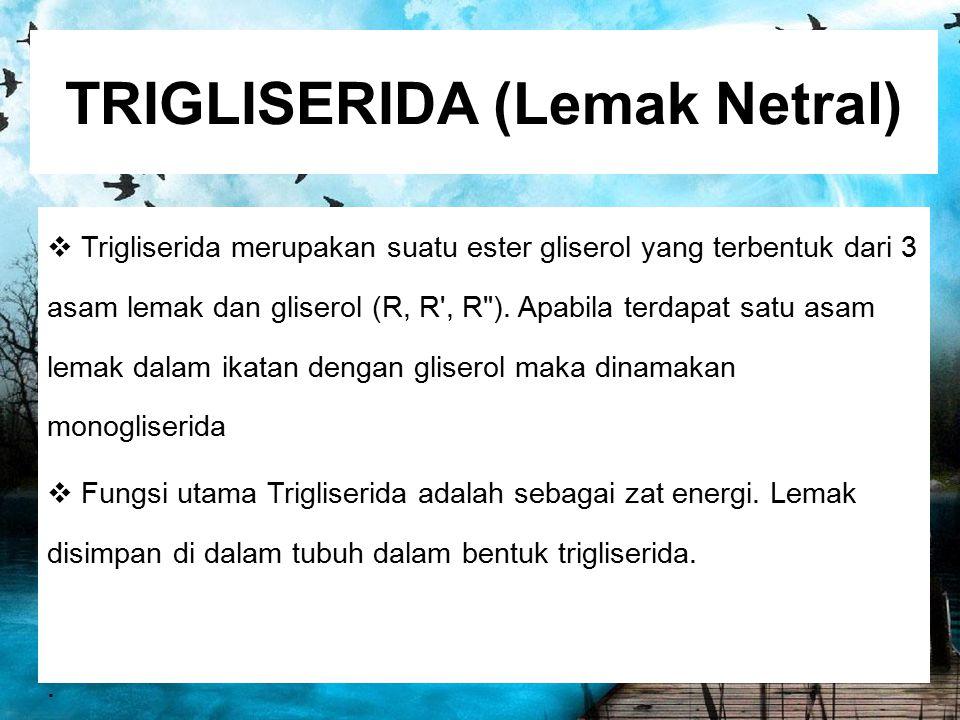 TRIGLISERIDA (Lemak Netral)  Trigliserida merupakan suatu ester gliserol yang terbentuk dari 3 asam lemak dan gliserol (R, R', R