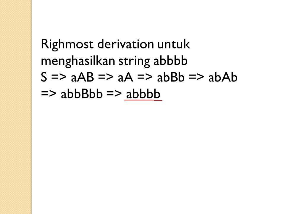 Righmost derivation untuk menghasilkan string abbbb S => aAB => aA => abBb => abAb => abbBbb => abbbb