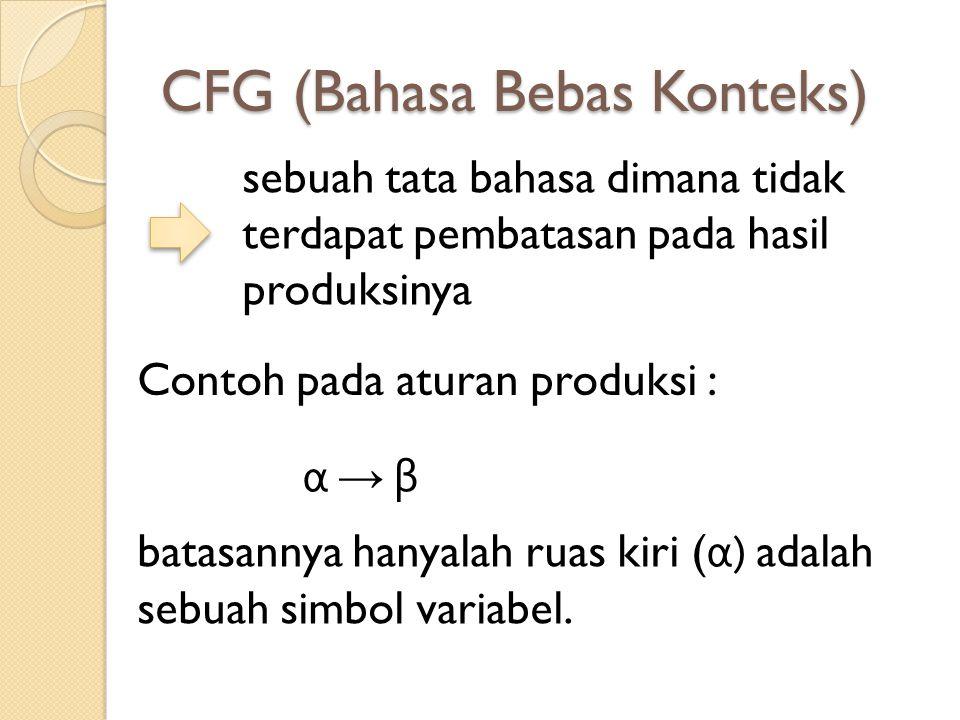 CFG (Bahasa Bebas Konteks) sebuah tata bahasa dimana tidak terdapat pembatasan pada hasil produksinya Contoh pada aturan produksi : α → βα → β batasan