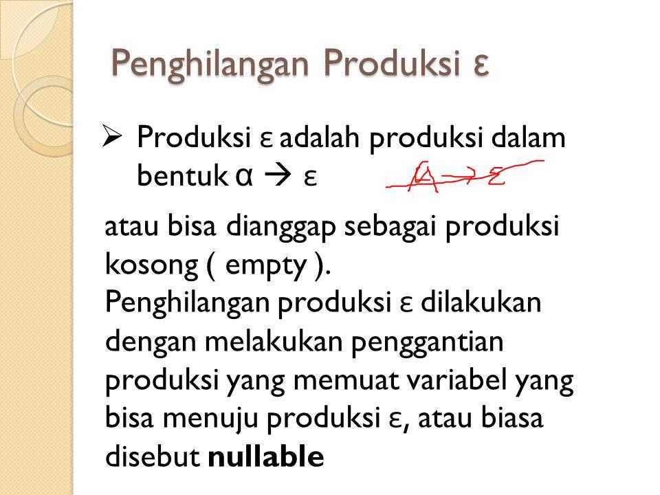Penghilangan Produksi ε  Produksi ε adalah produksi dalam bentuk α  ε atau bisa dianggap sebagai produksi kosong ( empty ). Penghilangan produksi ε