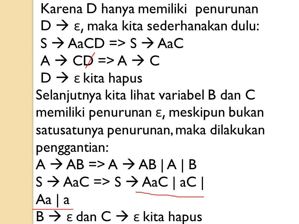 Karena D hanya memiliki penurunan D  ε, maka kita sederhanakan dulu: S  AaCD => S  AaC A  CD => A  C D  ε kita hapus Selanjutnya kita lihat vari