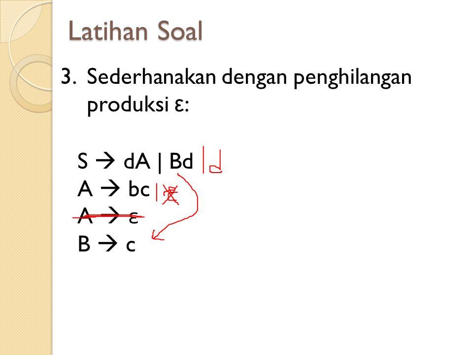 Latihan Soal 3.Sederhanakan dengan penghilangan produksi ε : S  dA | Bd A  bc A  ε B  c