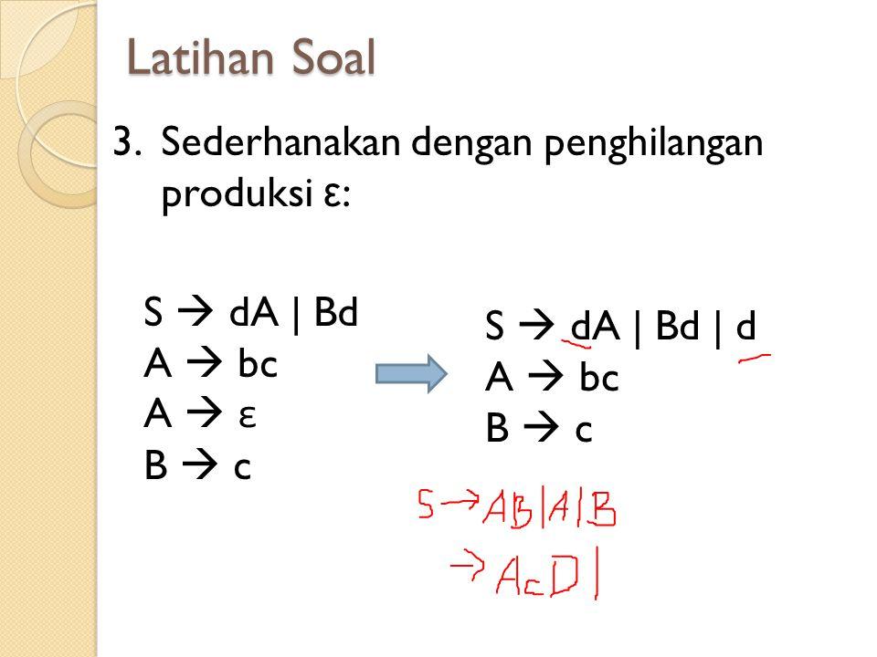 Latihan Soal 3.Sederhanakan dengan penghilangan produksi ε : S  dA | Bd | d A  bc B  c S  dA | Bd A  bc A  ε B  c