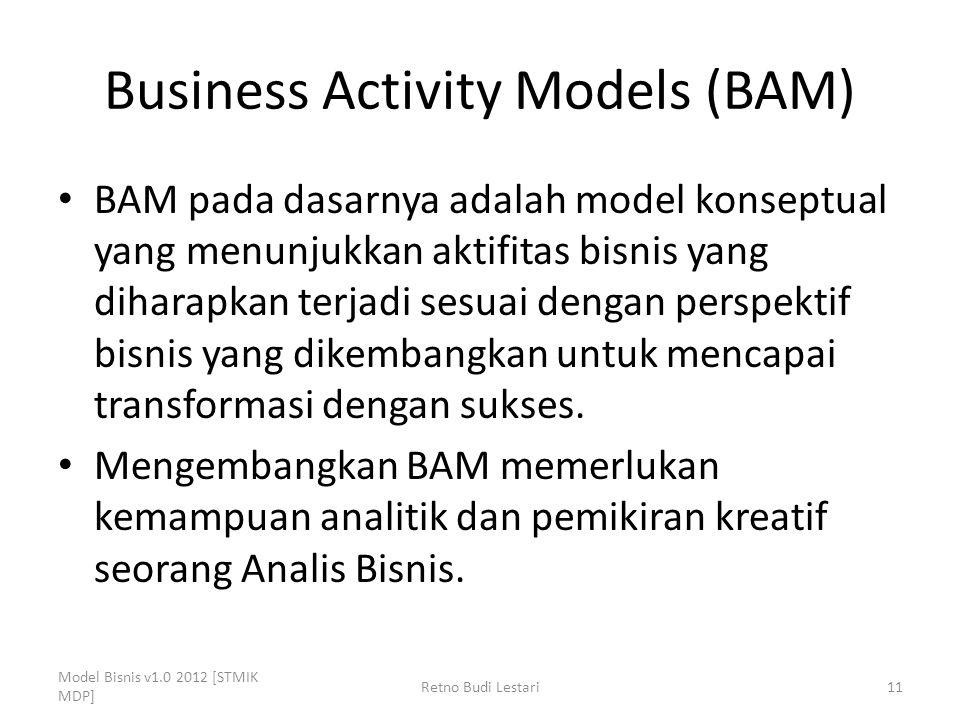 Business Activity Models (BAM) BAM pada dasarnya adalah model konseptual yang menunjukkan aktifitas bisnis yang diharapkan terjadi sesuai dengan persp