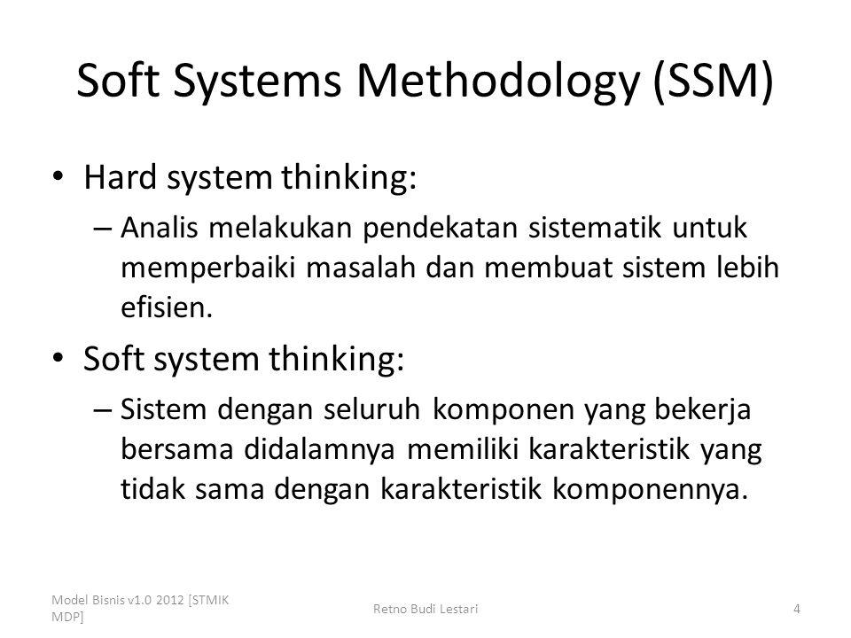 Soft Systems Methodology (SSM) Hard system thinking: – Analis melakukan pendekatan sistematik untuk memperbaiki masalah dan membuat sistem lebih efisi
