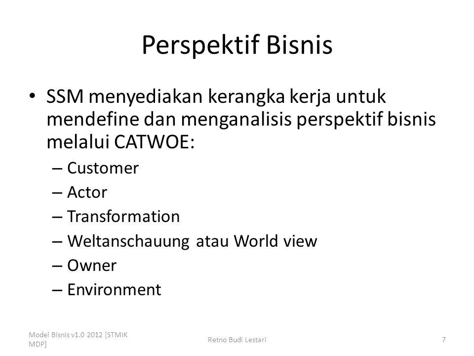 Perspektif Bisnis SSM menyediakan kerangka kerja untuk mendefine dan menganalisis perspektif bisnis melalui CATWOE: – Customer – Actor – Transformatio