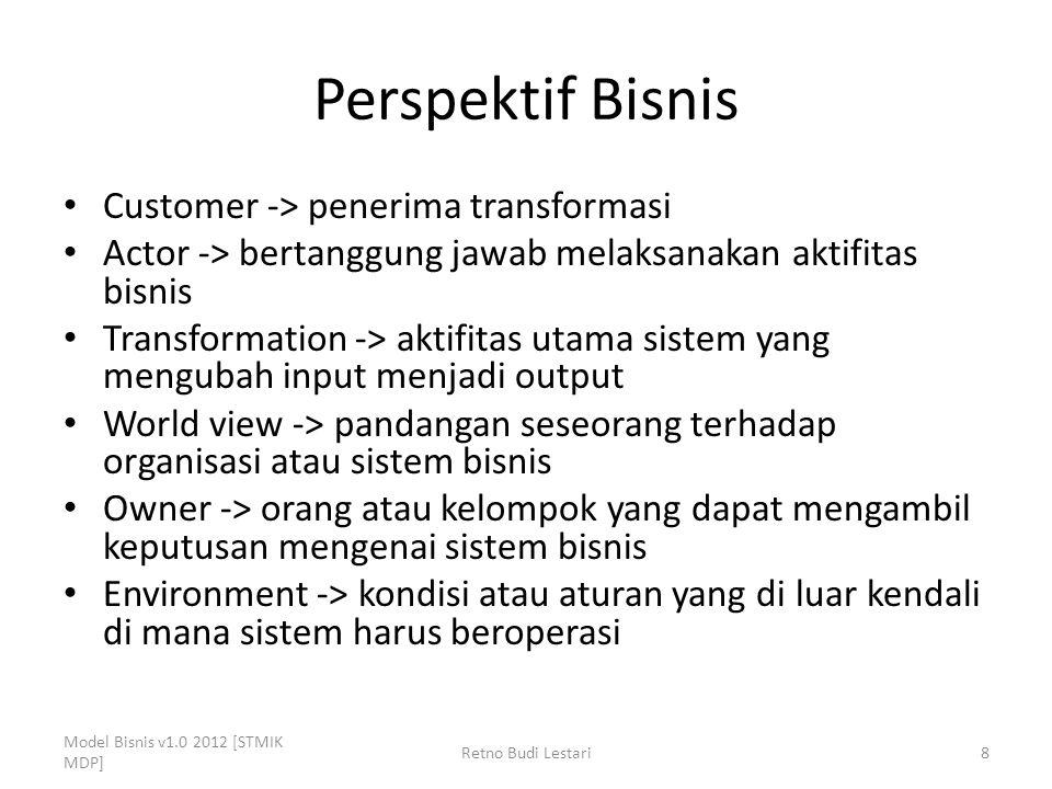 Perspektif Bisnis Customer -> penerima transformasi Actor -> bertanggung jawab melaksanakan aktifitas bisnis Transformation -> aktifitas utama sistem