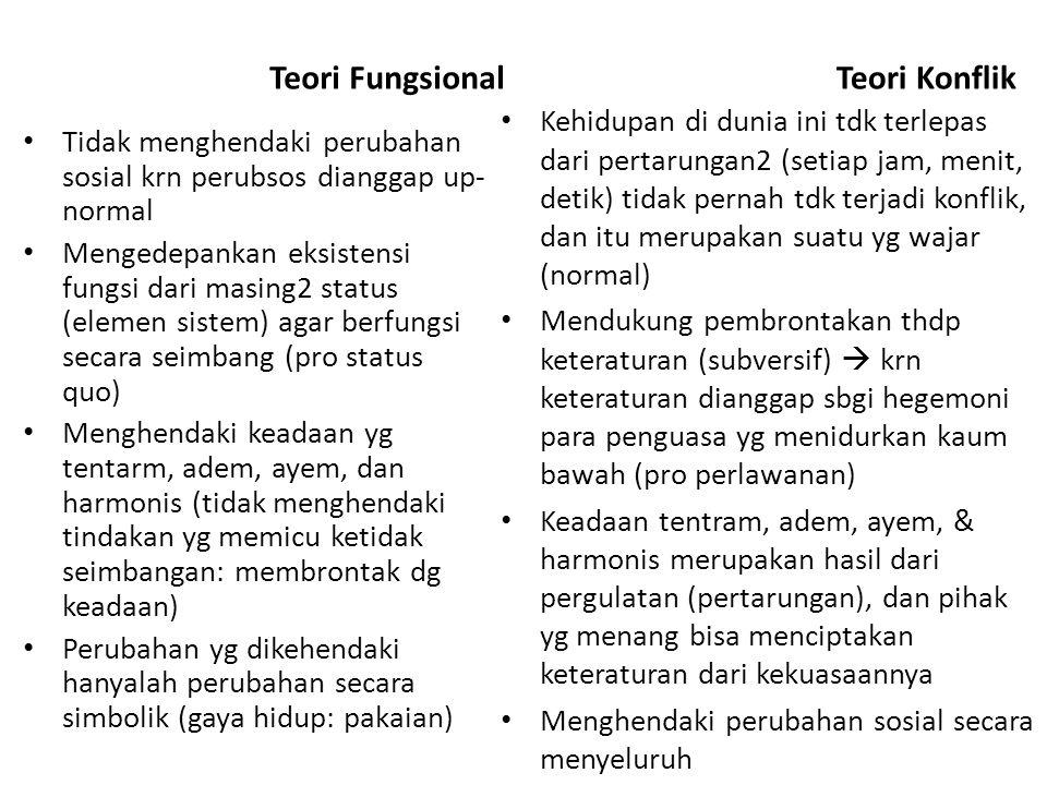 Teori Fungsional Tidak menghendaki perubahan sosial krn perubsos dianggap up- normal Mengedepankan eksistensi fungsi dari masing2 status (elemen siste