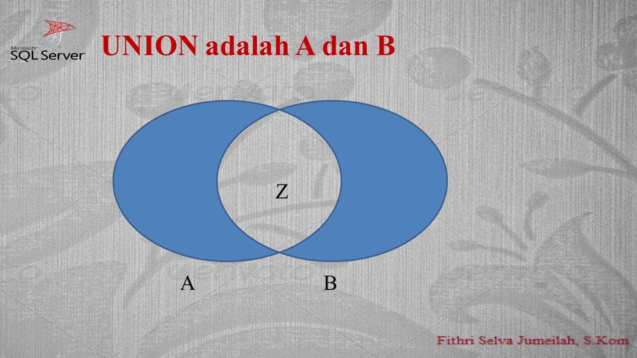 UNION adalah A dan B AAZ AB