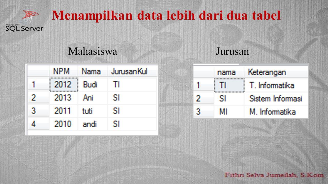 Menampilkan data lebih dari dua tabel MahasiswaJurusan