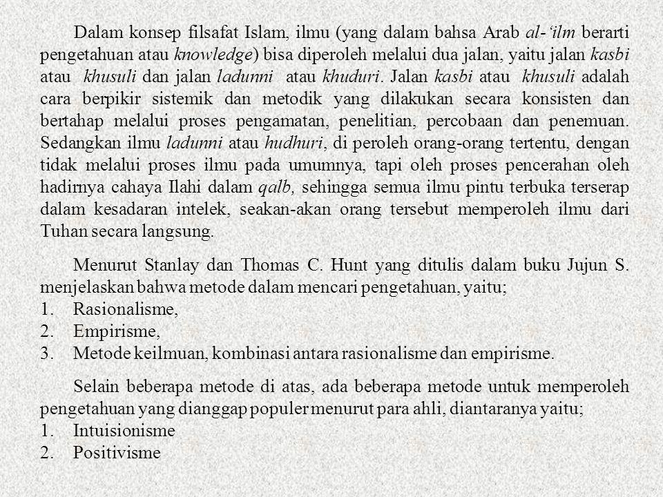Dalam konsep filsafat Islam, ilmu (yang dalam bahsa Arab al-'ilm berarti pengetahuan atau knowledge) bisa diperoleh melalui dua jalan, yaitu jalan kasbi atau khusuli dan jalan ladunni atau khuduri.