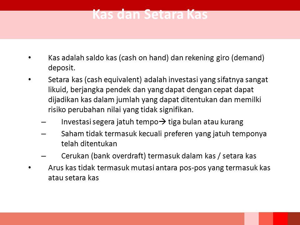 Kas dan Setara Kas Kas adalah saldo kas (cash on hand) dan rekening giro (demand) deposit. Setara kas (cash equivalent) adalah investasi yang sifatnya