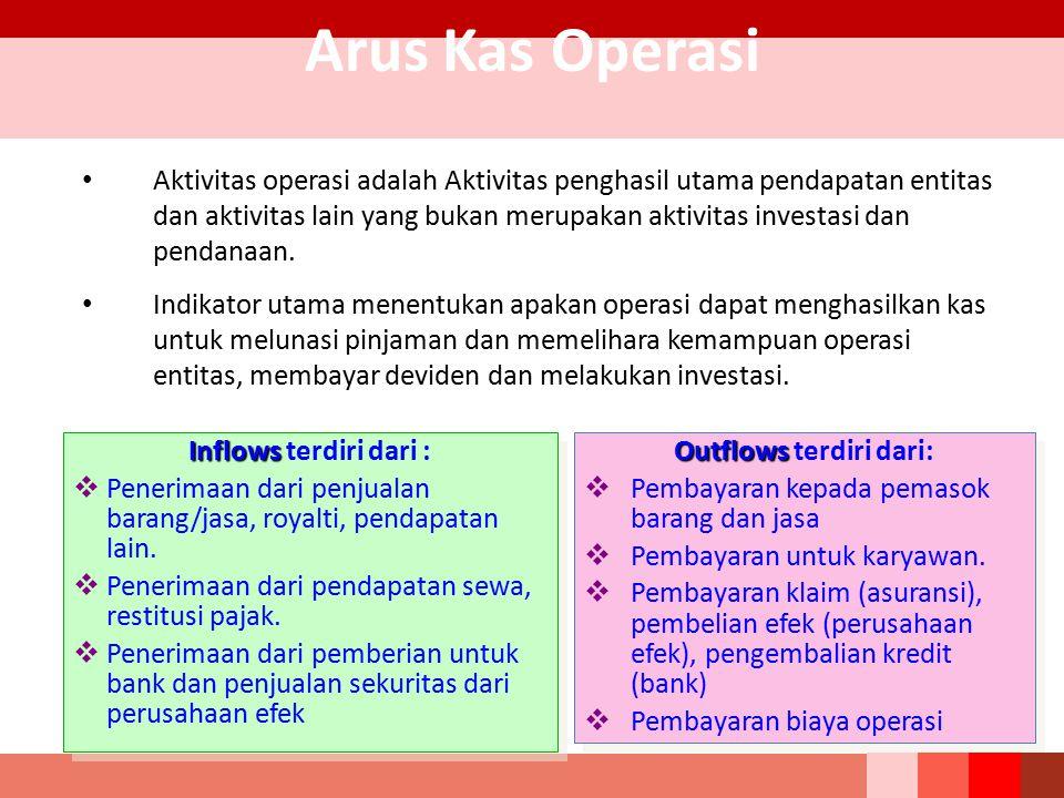 Arus Kas Operasi Aktivitas operasi adalah Aktivitas penghasil utama pendapatan entitas dan aktivitas lain yang bukan merupakan aktivitas investasi dan