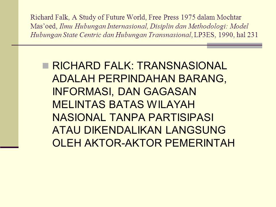 Richard Falk, A Study of Future World, Free Press 1975 dalam Mochtar Mas'oed, Ilmu Hubungan Internasional, Disiplin dan Methodologi: Model Hubungan St