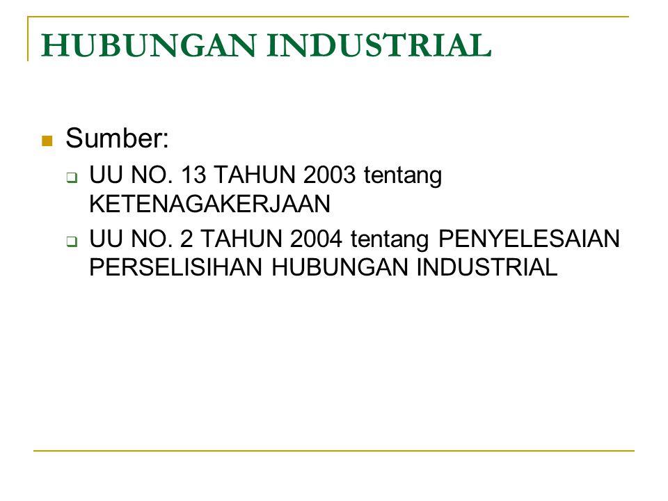 HUBUNGAN INDUSTRIAL Sumber:  UU NO. 13 TAHUN 2003 tentang KETENAGAKERJAAN  UU NO. 2 TAHUN 2004 tentang PENYELESAIAN PERSELISIHAN HUBUNGAN INDUSTRIAL