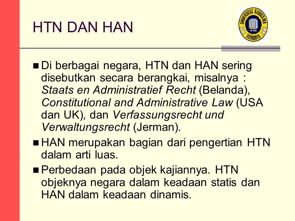 HTN DAN HAN Di berbagai negara, HTN dan HAN sering disebutkan secara berangkai, misalnya : Staats en Administratief Recht (Belanda), Constitutional an