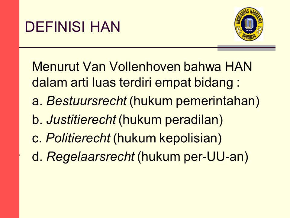 DEFINISI HAN Menurut Van Vollenhoven bahwa HAN dalam arti luas terdiri empat bidang : a. Bestuursrecht (hukum pemerintahan) b. Justitierecht (hukum pe