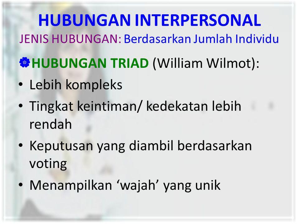 HUBUNGAN INTERPERSONAL JENIS HUBUNGAN: Berdasarkan Jumlah Individu  HUBUNGAN TRIAD (William Wilmot): Lebih kompleks Tingkat keintiman/ kedekatan lebi