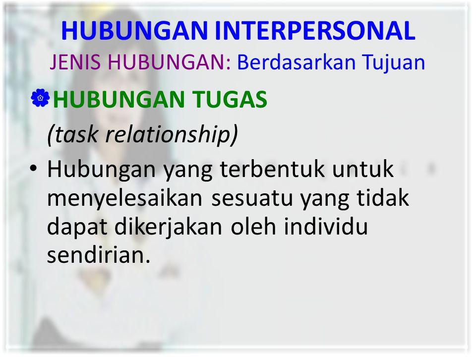 HUBUNGAN INTERPERSONAL JENIS HUBUNGAN: Berdasarkan Tujuan  HUBUNGAN TUGAS (task relationship) Hubungan yang terbentuk untuk menyelesaikan sesuatu yan