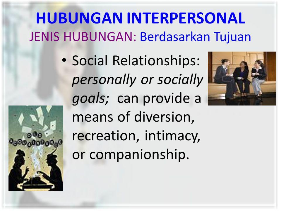 HUBUNGAN INTERPERSONAL JENIS HUBUNGAN: Berdasarkan Tujuan Social Relationships: personally or socially goals; can provide a means of diversion, recrea