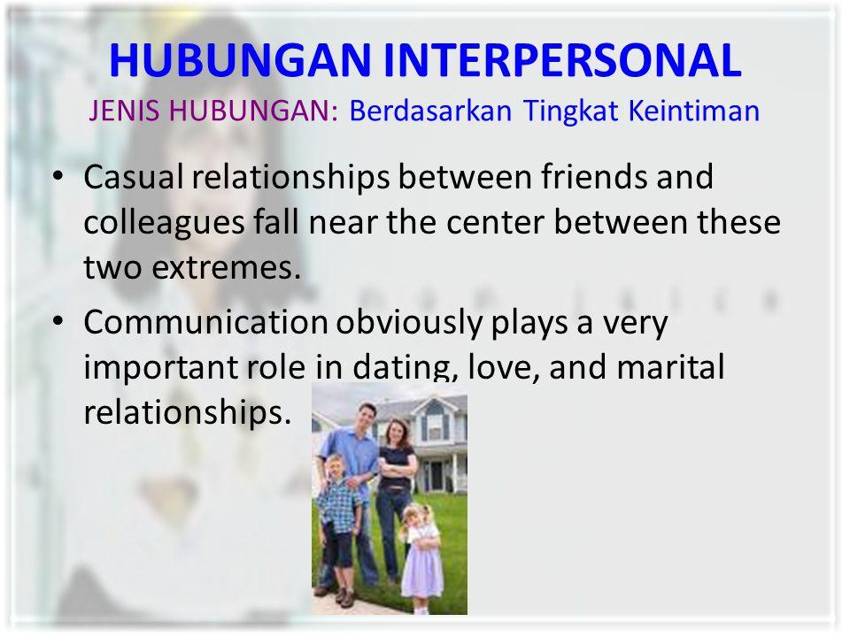 HUBUNGAN INTERPERSONAL JENIS HUBUNGAN: Berdasarkan Tingkat Keintiman Casual relationships between friends and colleagues fall near the center between