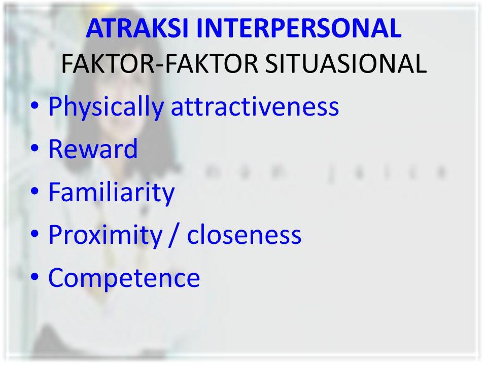 ATRAKSI INTERPERSONAL FAKTOR-FAKTOR SITUASIONAL Physically attractiveness Reward Familiarity Proximity / closeness Competence