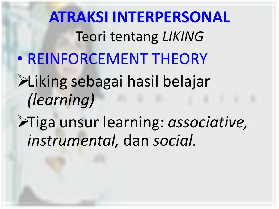 ATRAKSI INTERPERSONAL Teori tentang LIKING REINFORCEMENT THEORY  Liking sebagai hasil belajar (learning)  Tiga unsur learning: associative, instrume