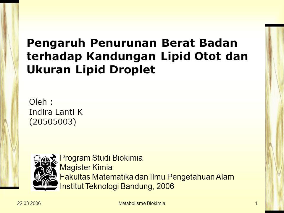 22.03.2006Metabolisme Biokimia1 Pengaruh Penurunan Berat Badan terhadap Kandungan Lipid Otot dan Ukuran Lipid Droplet Program Studi Biokimia Magister