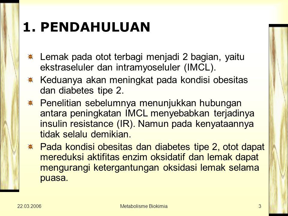 22.03.2006Metabolisme Biokimia3 1. PENDAHULUAN Lemak pada otot terbagi menjadi 2 bagian, yaitu ekstraseluler dan intramyoseluler (IMCL). Keduanya akan
