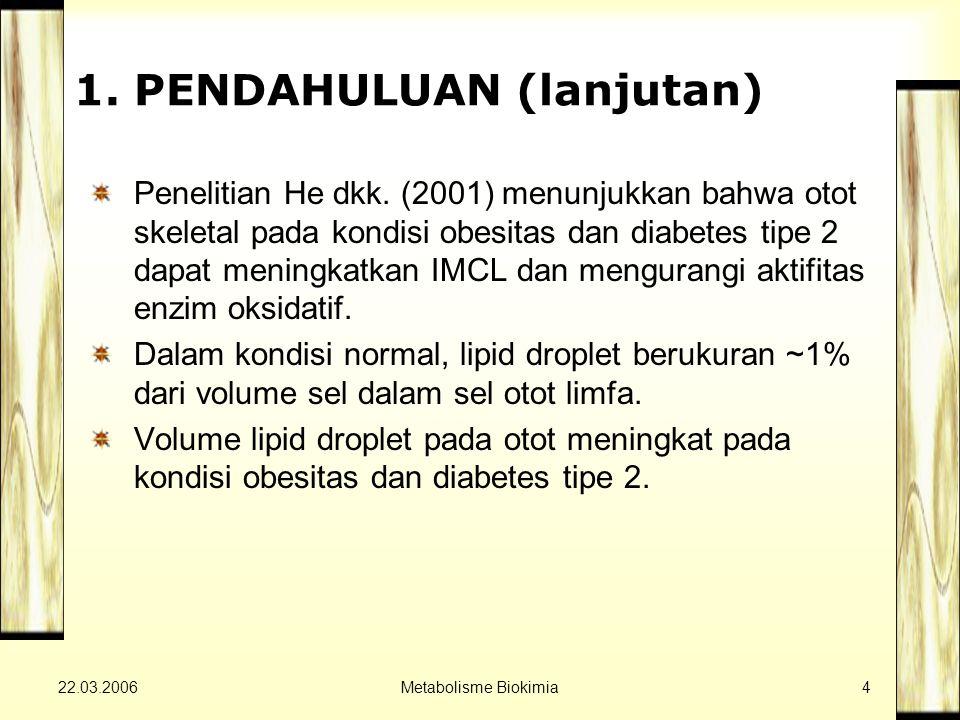 22.03.2006Metabolisme Biokimia4 1. PENDAHULUAN (lanjutan) Penelitian He dkk.