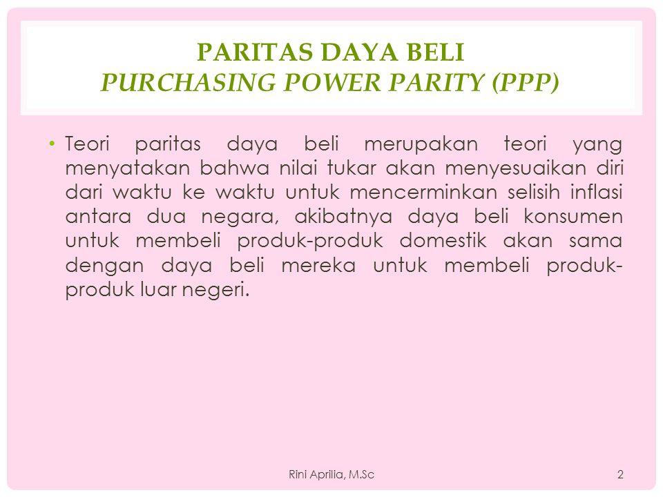 PARITAS DAYA BELI PURCHASING POWER PARITY (PPP) Teori paritas daya beli merupakan teori yang menyatakan bahwa nilai tukar akan menyesuaikan diri dari