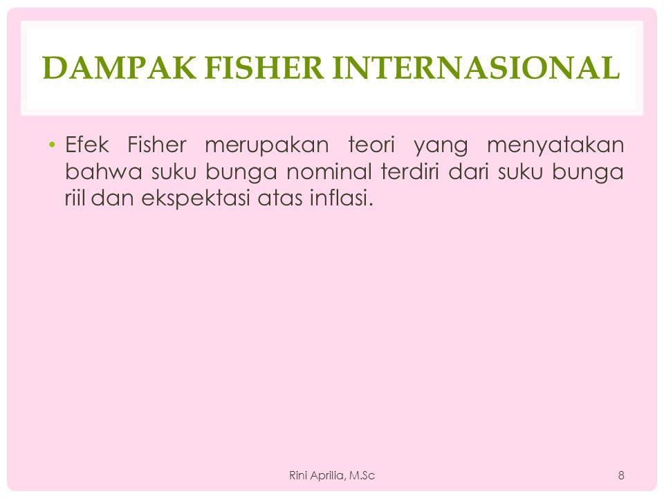 DAMPAK FISHER INTERNASIONAL Efek Fisher merupakan teori yang menyatakan bahwa suku bunga nominal terdiri dari suku bunga riil dan ekspektasi atas infl