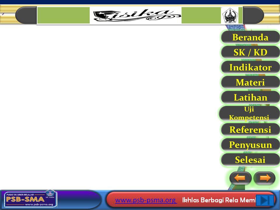 Beranda SK / KD Indikator Materi Latihan Uji Kompetensi Referensi Selesai PenyusunReferensi 1. Supiyanto, 2006. Fisika SMA kelas X 2. Marthin Kanginan