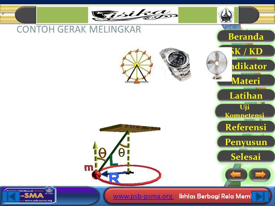 Beranda SK / KD Indikator Materi Latihan Uji Kompetensi Referensi Selesai Penyusun BESARAN-BESARAN DALAM GERAK MELINGKAR 1. Periode (T) adalah waktu y