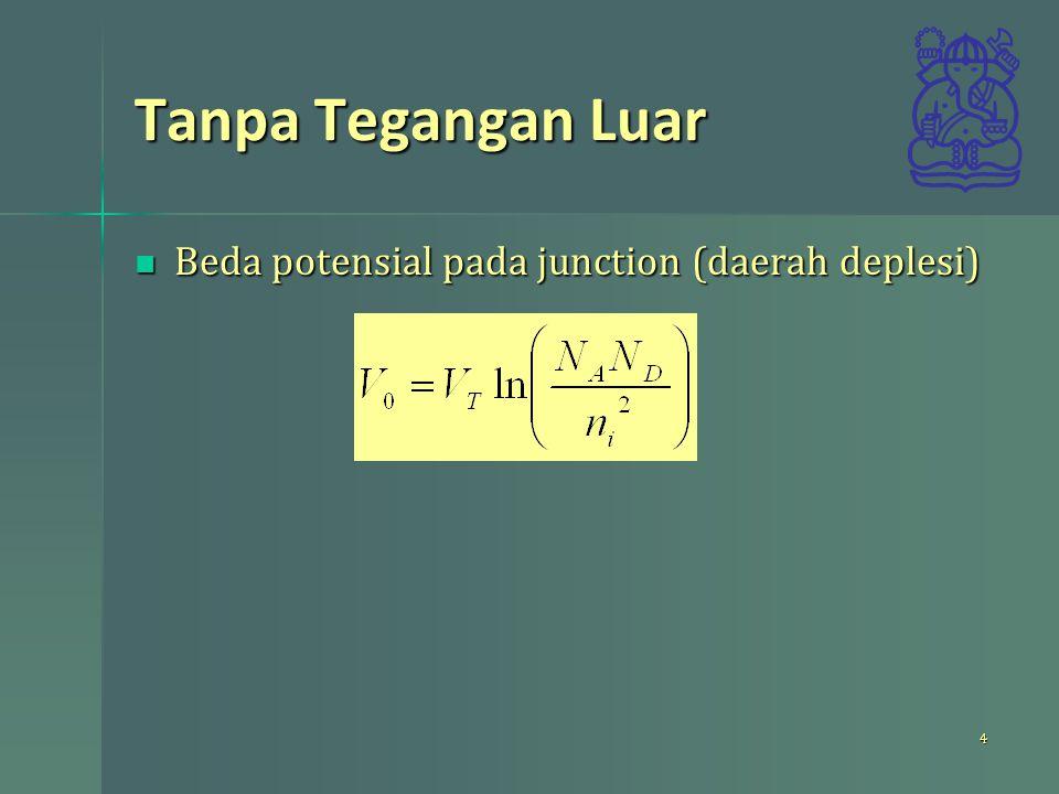Tanpa Tegangan Luar Beda potensial pada junction (daerah deplesi) Beda potensial pada junction (daerah deplesi) 4
