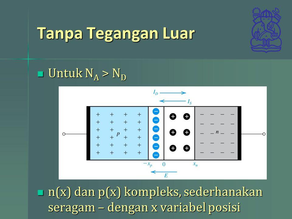 Tanpa Tegangan Luar Untuk N A > N D Untuk N A > N D n(x) dan p(x) kompleks, sederhanakan seragam – dengan x variabel posisi n(x) dan p(x) kompleks, se