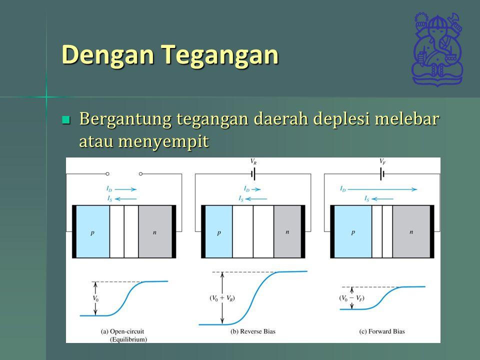 Dengan Tegangan Bergantung tegangan daerah deplesi melebar atau menyempit Bergantung tegangan daerah deplesi melebar atau menyempit